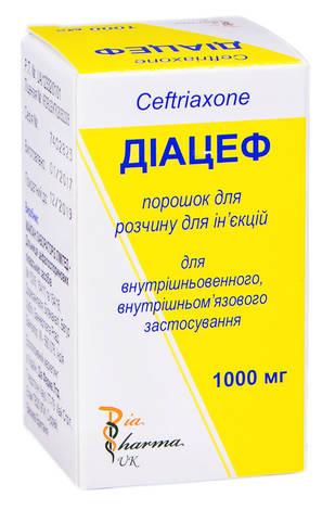 Діацеф порошок для ін'єкцій 1000 мг 1 флакон