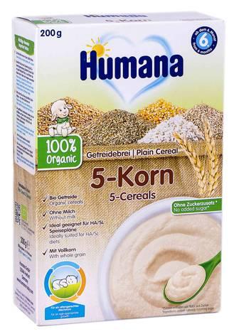 Humana Каша безмолочна органічна 5 злаків від 6 місяців 200 г 1 коробка