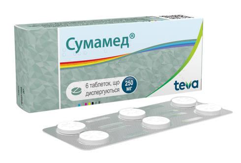 Сумамед таблетки дисперговані 250 мг 6 шт