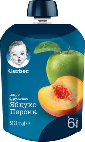 Gerber Пюре Яблуко і персик від 6 місяців 90 г 1 пауч