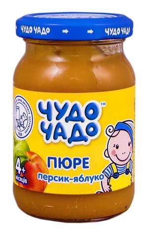 Чудо-Чадо Пюре персик-яблуко з цукром з 4 місяців 170 г 1 банка