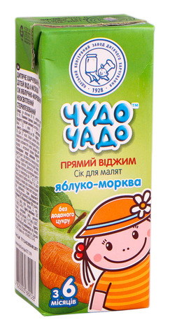 Чудо-Чадо Сік яблучно-морквяний з 6 місяців 200 мл 1 пакет