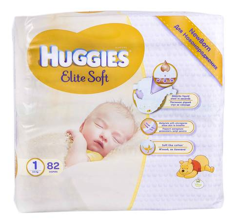 Huggies Elite Soft 1 Підгузки для новонароджених 2-5 кг 82 шт