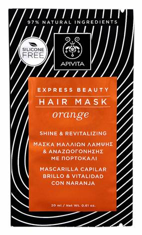 Apivita Express Beauty Маска для волосся Блиск та оздоровлення з апельсином 20 мл 1 пакет