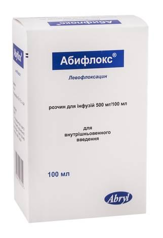Абифлокс розчин для інфузій 500 мг/100 мл  100 мг 1 флакон