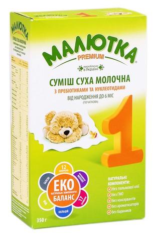 Малютка 1 Молочна суміш з пребіотиками та нуклеотидами від 0 до 6 місяців 350 г 1 пакет