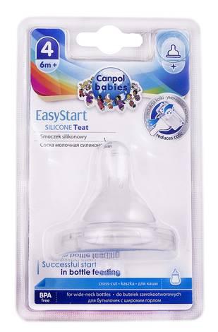 Canpol Babies EasyStart Соска силіконова до пляшечок з широким отвором для каші від 6 місяців 21/723 1 шт
