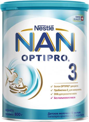 NAN 3 Optipro Суха дитяча молочна суміш від 12 місяців 800 г 1 банка