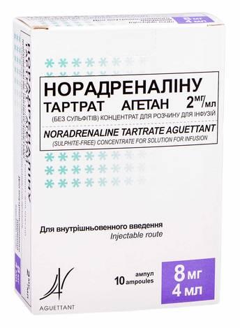 Норадреналіну тартрат агетан концентрат для інфузій 2 мг/мл 4 мл 10 ампул