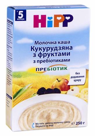 HiPP Каша молочна Кукурудзяна з фруктами з пребіотиками без цукру з 5 місяців 250 г 1 коробка