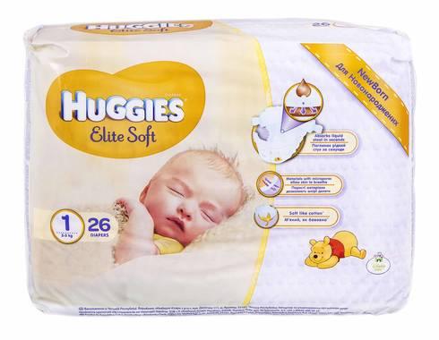 Huggies Elite Soft 1 Підгузки для новонароджених до 5 кг 26 шт