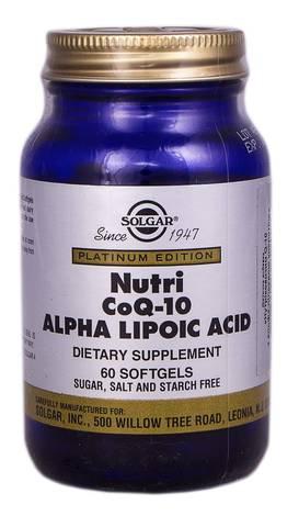 Solgar Нутрікоензим Q10 з Альфа-ліпоєвою кислотою капсули 60 шт