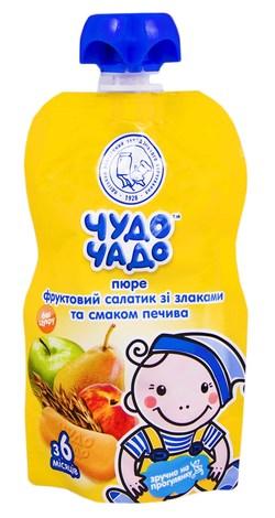 Чудо-Чадо Пюре фруктовий салатик зі злаками та смаком печива з 6 місяців 90 г 1 пауч