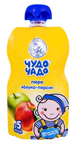 Чудо-Чадо Пюре яблуко-персик з цукром з 5 місяців 90 г 1 пауч