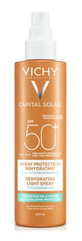 Vichy Capital Soleil Спрей водостійкий з гіалуроновою кислотою захищає шкіру від солі та хлору SPF-50+ 200 мл 1 флакон