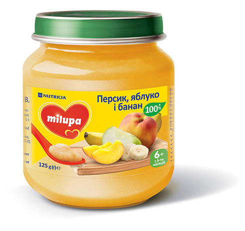Milupa Пюре Персик, яблуко і банан з 6 місяців 125 г 1 банка