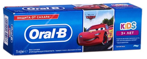 Oral-B Kids Зубна паста дитяча Тачки від 3 років Ніжний смак 75 мл 1 туба