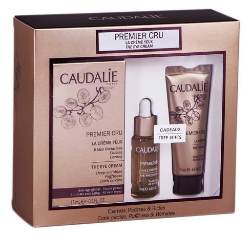 Caudalie Premier Cru крем для контуру очей 15 мл + дорогоцінна олія 10 мл + крем 15 мл 1 набір