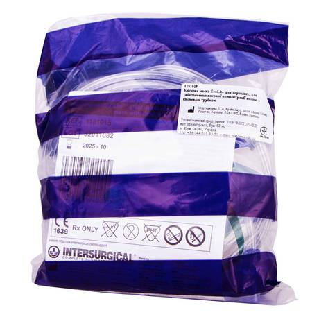 Маска киснева EcoLite для дорослих, для забезпечення високої концентрації кисню з кисневою трубкою 1 шт