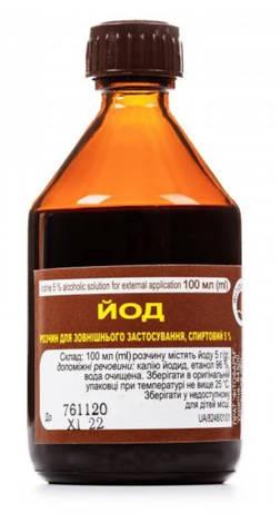 Йод розчин спиртовий для зовнішнього застосування 5 % 100 мл 1 флакон