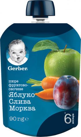 Gerber Пюре Яблуко, слива, морква з 6 місяців 90 г 1 пауч