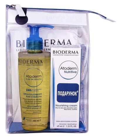 Bioderma Atoderm олія для душу 200 мл + бальзам для обличчя 40 мл 1 набір