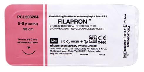 Meril Filapron 5/0 Шовний матеріал 90 см фіолетовий, колюча голка 16 мм 3/8 кола PCL503204 1 шт