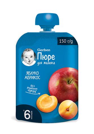 Gerber Пюре Яблуко-абрикос з 6 місяців 150 г 1 пауч