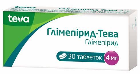 Глімепірид Тева таблетки 4 мг 30 шт