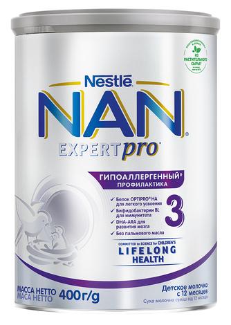 NAN Гіпоалергенний 3 Optipro Суха дитяча молочна суміш з 12 місяців 400 г 1 банка