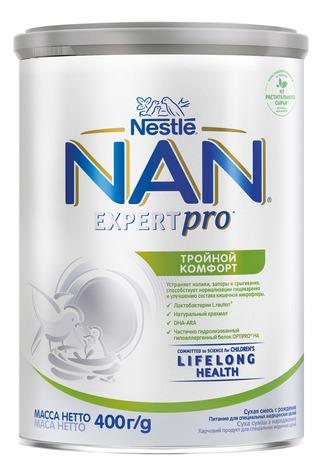 NAN Потрійний комфорт Суха дитяча молочна суміш з народження 400 г 1 банка
