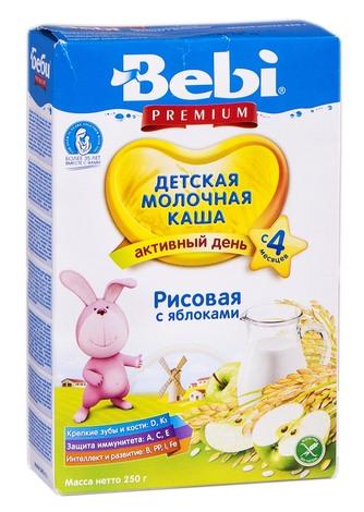 Bebi Premium Каша молочна рисова з яблуками з 4 місяців 250 г 1 коробка