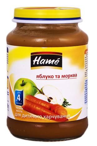 Hame Пюре яблуко та морква від 4 місяців 190 г 1 банка