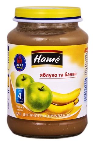 Hame Пюре Яблуко та банан від 4 місяців 190 г 1 банка