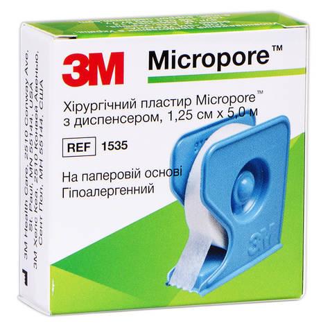 3M Micropore Пластир хірургічний паперовий гіпоалергенний 1.25 см х 5 м з диспансером 1 шт