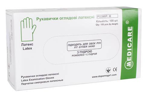 Medicare Рукавички оглядові латексні з пудрою нестерильні розмір М 1 пара