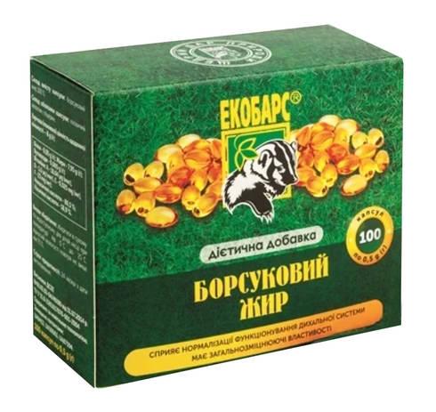 Екобарс Борсуковий жир капсули 0,5 г 100 шт