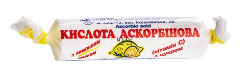 Аскорбінова кислота з цукром лимонний смак таблетки 25 мг 10 шт