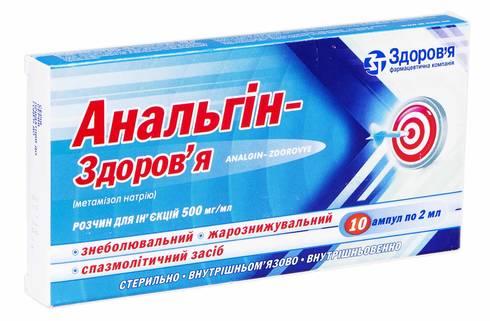 Анальгін Здоров'я розчин для ін'єкцій 500 мг/мл 2 мл 10 ампул
