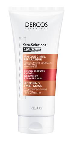 Vichy Dercos Kera-Solutions Маска відновлююча 2-хв для реконструкції поверхні пошкодженого ослабленого волосся 200 мл 1 туба