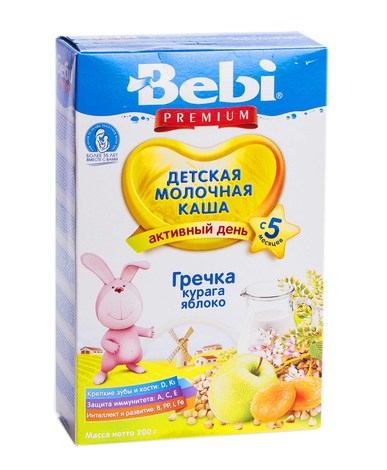 Bebi Premium Каша молочна гречка, курага, яблуко з 5 місяців 200 г 1 коробка