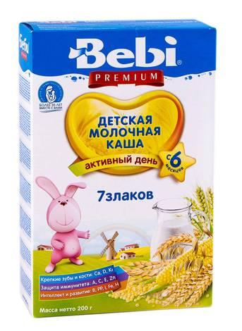 Bebi Premium Каша молочна 7 злаків з 6 місяців 200 г 1 коробка