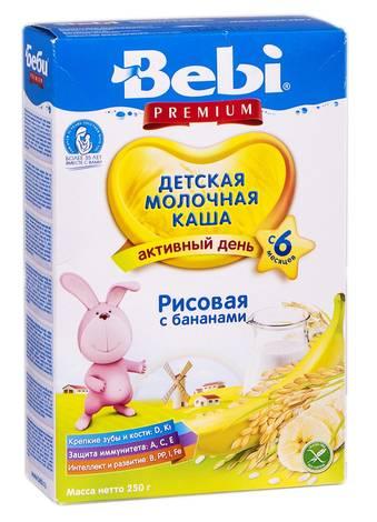 Bebi Premium Каша молочна рисова з бананами з 6 місяців 250 г 1 коробка
