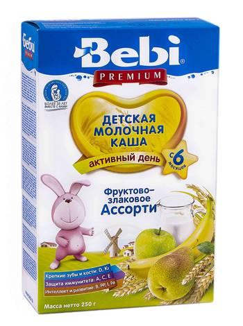 Bebi Premium Каша молочна фруктово-злакове асорті з 6 місяців 250 г 1 коробка