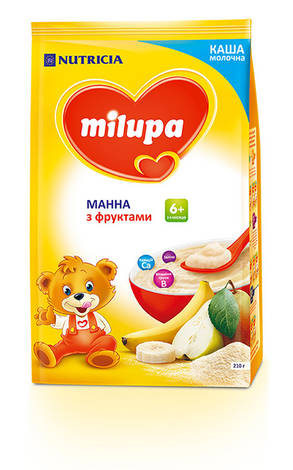 Milupa Каша молочна манна з фруктами з 6 місяців 210 г 1 пакет