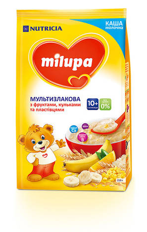 Milupa Каша молочна мультизлакова з фруктами, пластівцями та кульками без цукру з 10 місяців 210 г 1 пакет