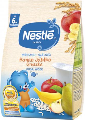 Nestle Каша молочна рисова з бананом, яблуком та грушею з біфідобактеріями з 6 місяців 230 г 1 пакет