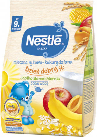 Nestle Каша молочна рисово-кукурудзяна з яблуком, банананом та абрикосом з 9 місяців 230 г 1 пакет