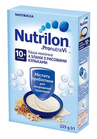 Nutrilon Каша молочна 4 злаки з рисовими кульками з 10 місяців 225 г 1 коробка
