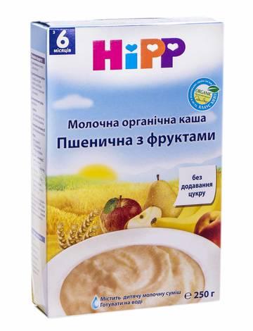 HiPP Каша молочна органічна Пшенична з фруктами з 6 місяців 250 г 1 коробка